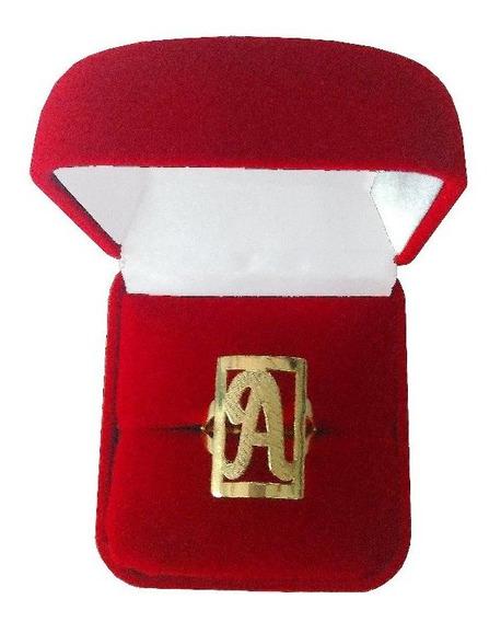 Anel De Letra 2 Grs Ouro 18 Kl 750 (todas As Letras)