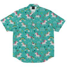 Camisa Botões Masculina Verde Água Unicórnio Unicorn Cute 2ffb81f586e
