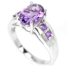 Anel Prata 925 Pedra Natural Ametista Purpura Aro 15