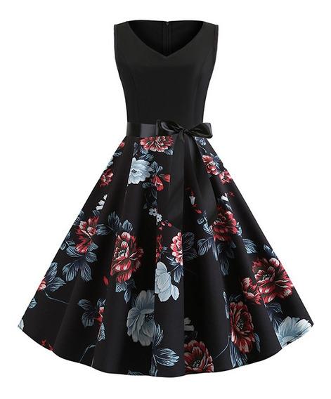 Vestido De Noche Sin Mangas Estampado Floral S-2xl