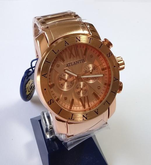 Relógio Dourado Masculino Original Atlantis Sports