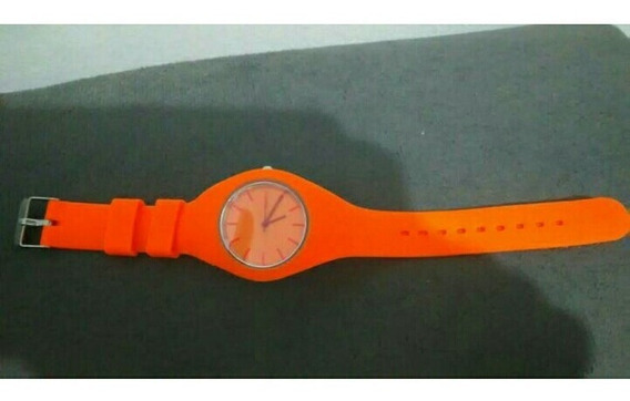 Relógio Geneva Laranja Neon Novo