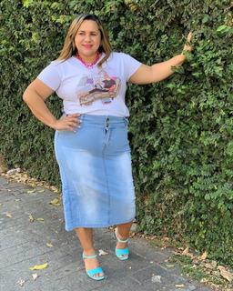 Saia Jeans Midi Feminina Destroyed Moda Evangélica Plus Size
