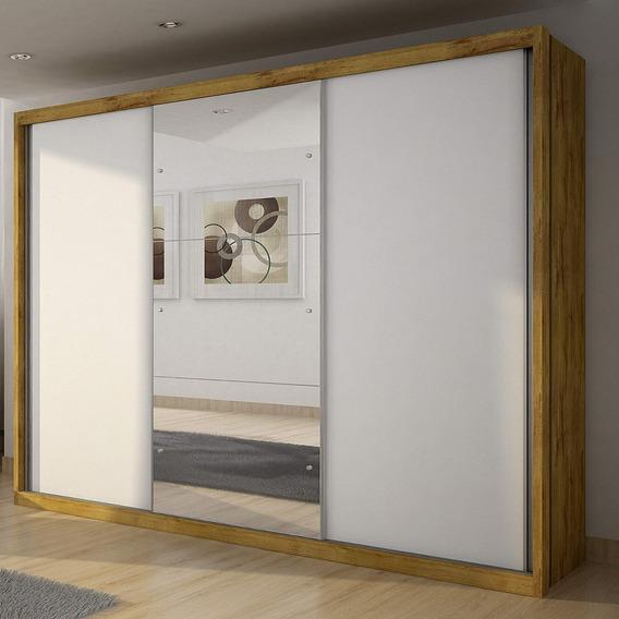 Guarda Roupa Casal Com Espelho 3 Portas De Correr Bh