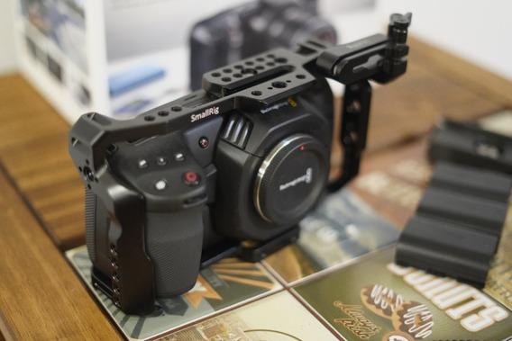 Blackmagic Pocket Camera 4k Com Cage, Adaptador Np