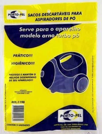 5 Sacos Descartáveis Para Aspiradores De Pó Arno Turbo Pó.