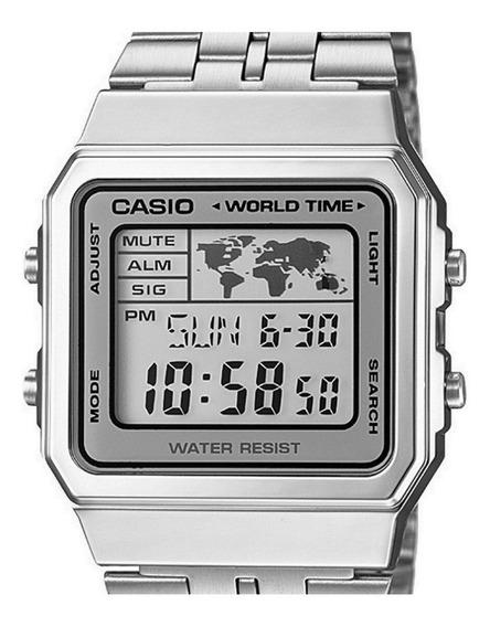 Relógio Casio Vintage World Time Prata A500wa-7df Original