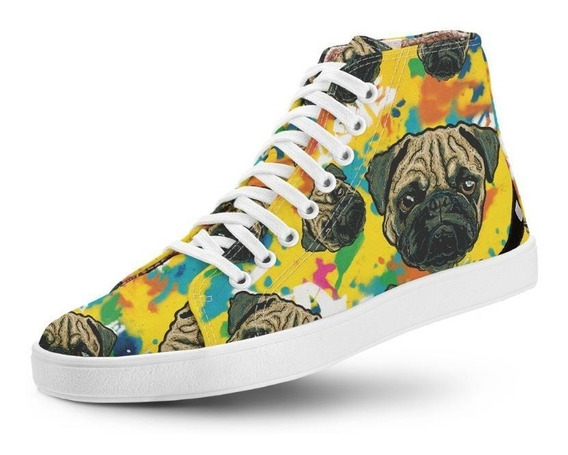 Tênis Casual Cano Alto Long Vegano Art Love Pug Usthemp
