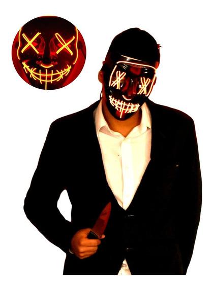 Máscara La Purga Luz Led Naranja Halloween Disfraz The Purge