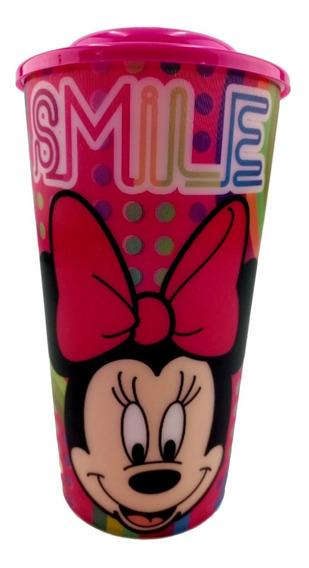Vaso Lenticular Minnie Mouse Dulcero Fiesta Popote Tapa Rosa