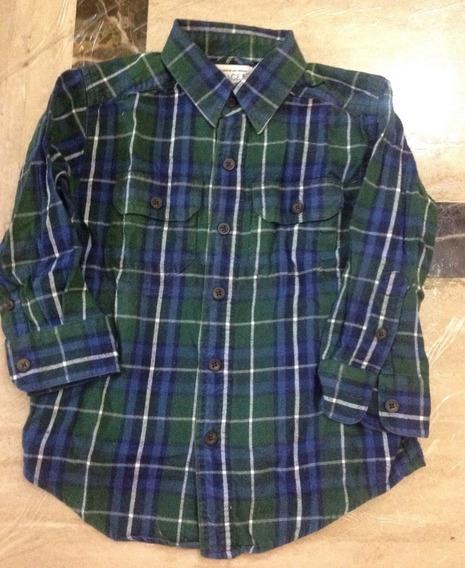 Camisa Manga Larga Verde Azul A Cuadros Niño Talla 4