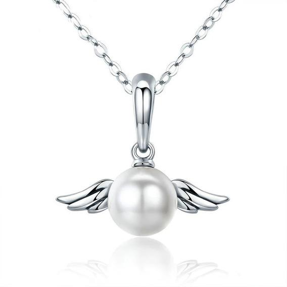 Cordão Prata 925 Anjo Asas Com Pérola Natural Estilo Pandora