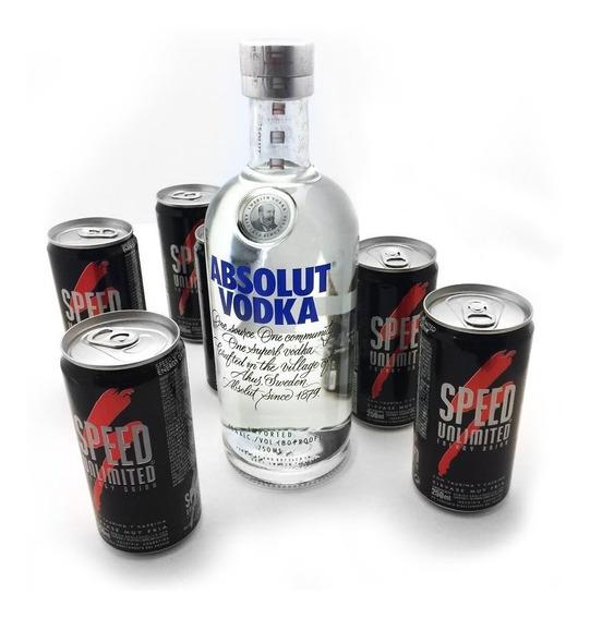 Pack X6 Latas Speed 250 + Botella Absolut Vodka De 750ml