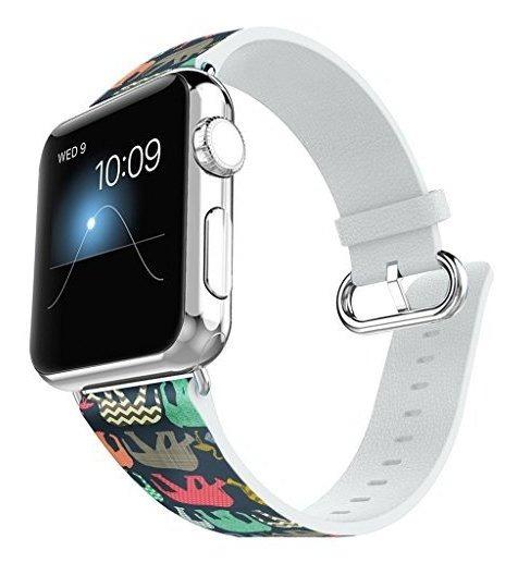 Apple Watch Band 38 Mm De Cuero Conector De Acero Iwatch Ban