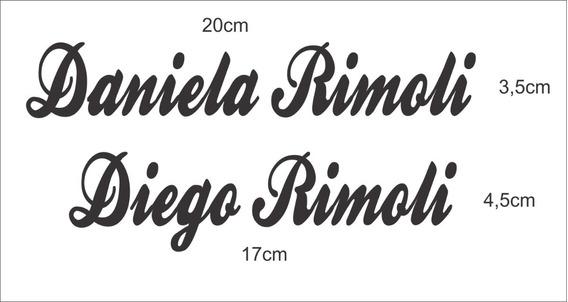 Adesivo Nome ( Daniela Rimoli ) 20cm X 3,5cm Branco Recorte