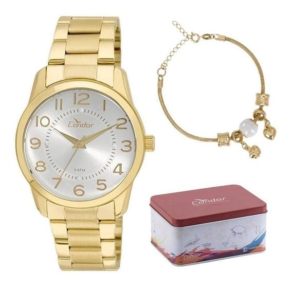 Kit Relógio Condor Feminino Co2039ab/k4k C/ Garantia E Nf