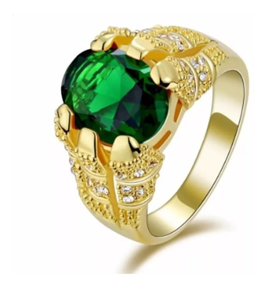 Anel De Ouro Masculino Com Pedra Verde Banhado A Ouro