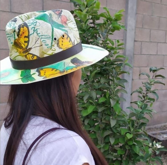 Sombrero Artesanal De Mariposas