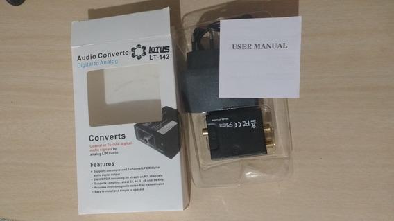 Conversor De Áudio Digital P/ Rca + Cabo Óptico Toslink