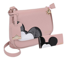 Bolsa Linda Mickey Em Um Kit Com Carteira Maravilhoso Ref:p