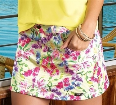 Saia Mini Com Estampada Floral- Maryon