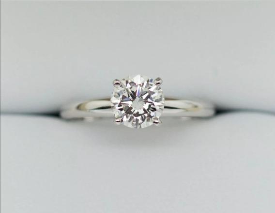 Anillo De Compromiso Oro Blanco Diamante Gia 0.66ct G Si2