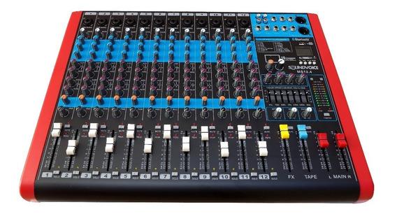 Mesa De Som 12 Canais Xlr 4 Aux Efx Usb Bt Soundvoice Ms12.4