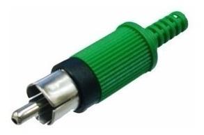 Plug Rca Macho * Plastico * Verde (lote Com 10 Peças)