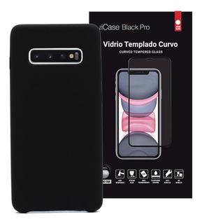Funda S10 Plus Silicone Case + Vidrio Full Cover Promo