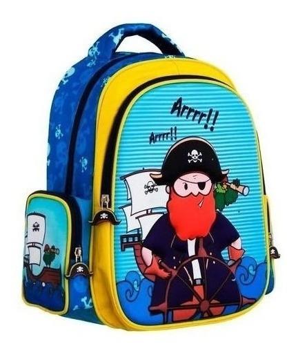 Mochila Infantil Escolar Pirata Em Alto Relevo Convoy Kids