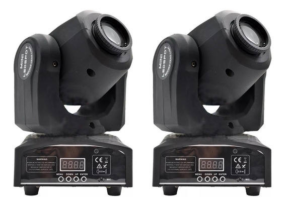 Kit 2 Mini Spot Cree Led Moving Head 30w 7 Desenhos+cores