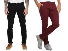 Calça Jeans Preta Masculina Sarja Skinny Slim 2 Peças Colori