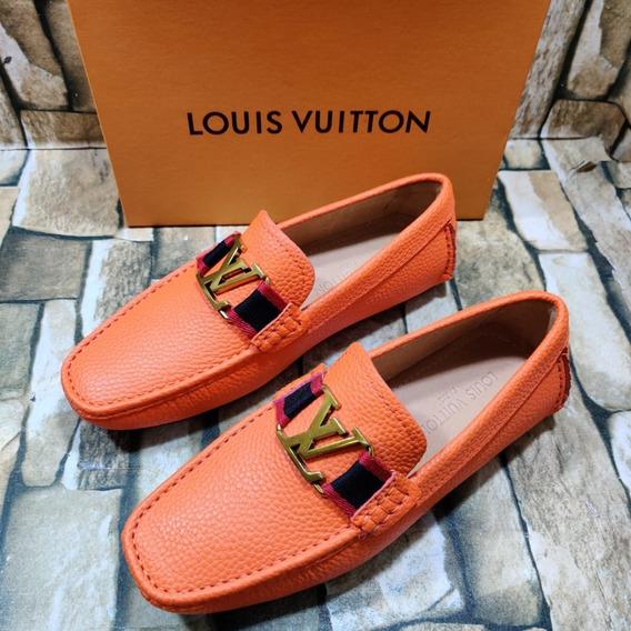 Mocasín Louis Vuitton Naranja Caballero, Envío Gratis