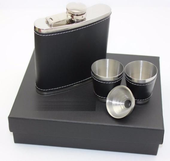 Kit Petaca Forrada 7oz 200cc 2 Vasos Embudo Inox Microcentro