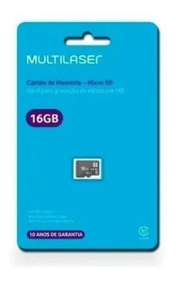 Cartão De Memória Classe 10 16gb Preto Multilaser - Mc143