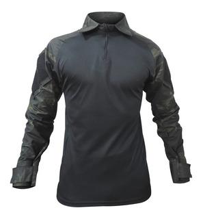 Camisa Combat Shirt Tática Preta Airsoft Paintball