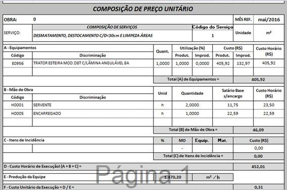 Planilha Excel Com Todas As Composições De Custo Daer / Rs
