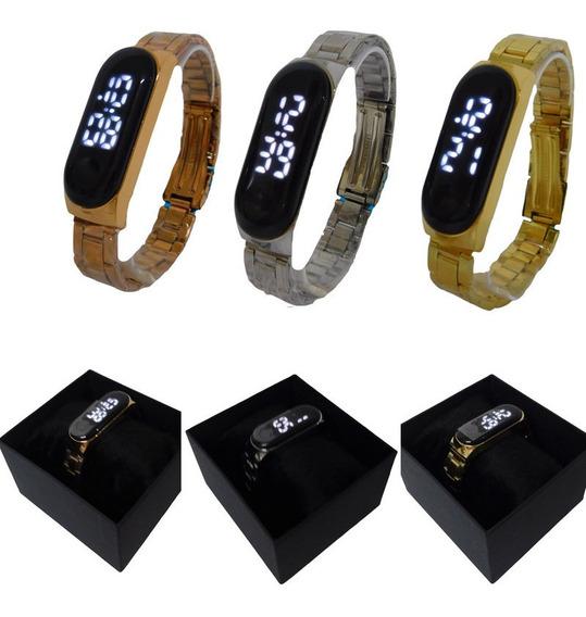 Kit 3 Relógios Feminino Masculino Led Digital Unissex Fashio