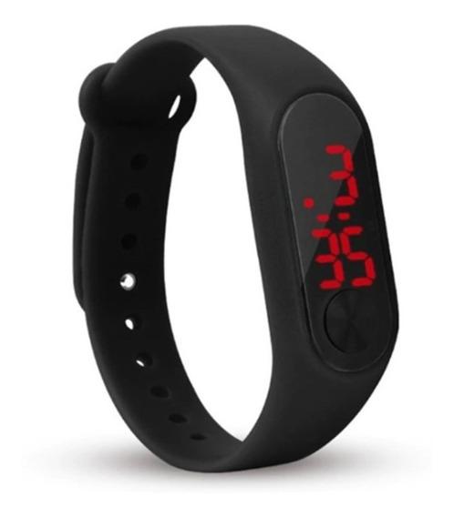 Relógio Digital Preto Bracelete Led Unissex Adulto Infantil