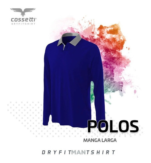 Playera Tipo Polo Cossetti Manga Larga Dryfit Combina Xl 2xl
