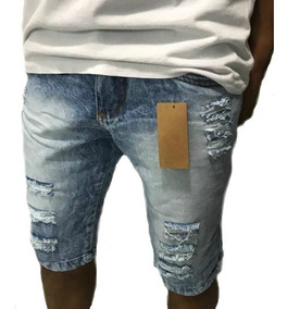 Kit 2 Bermudas Jeans Masculina Slim Fit Destroyed