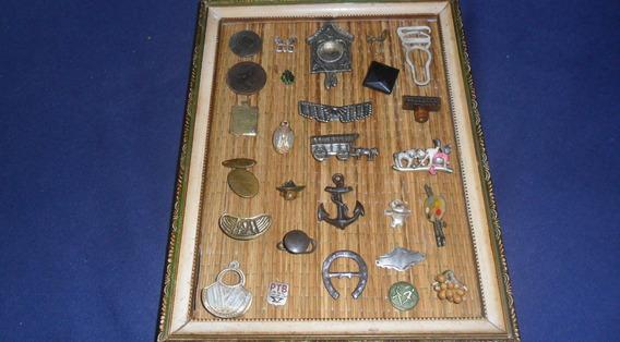 Lote De Antiguidades-quadro Pins-broches-bussula-brincos Etc
