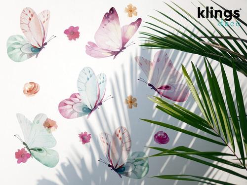 Imagen 1 de 3 de Vinilos Decorativos Mariposas Flores Acuarela