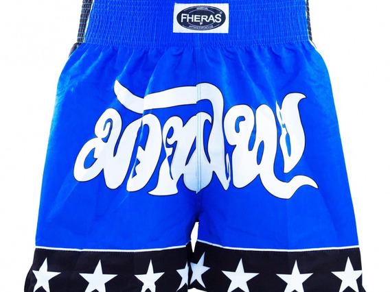 Shorts Boxe Muay Thai Fheras Training New Estrela Azul M