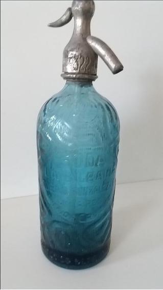 Antiguo Sifón Vidrio Azul Plomo La Bilbaina Art Deco 322