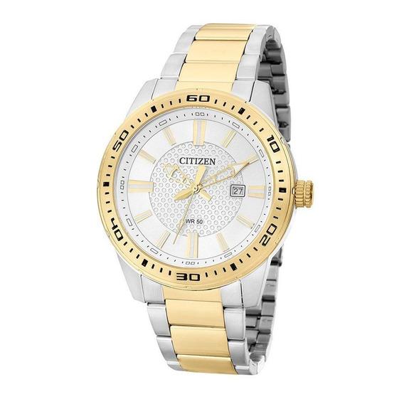 Relógio Citizen Masculino Aço Dourado Prata Tz20493b