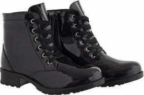 Bota Feminina Verniz Cr Shoes Cano Baixo Com Ziper 1600