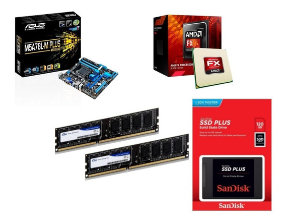 Kit Amd Mb M5a78l-m Plus Usb3 +fx 6300 + 4gb Mem + Ssd 120 G
