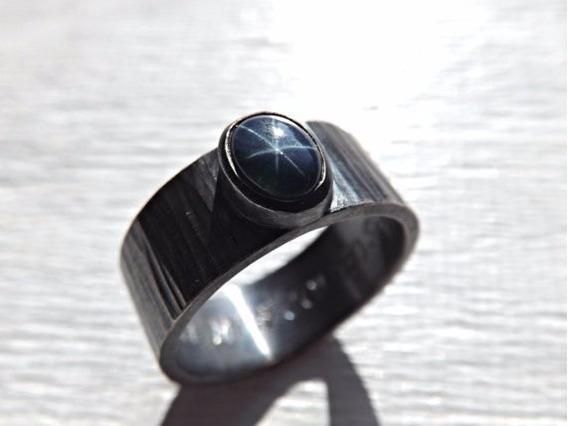 Anillo Zafiro Estrella Azul Plata Oxidada Negro Caballero
