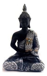 Figura Buda Siddharta Negro Túnica Azul Y Dorada 16x10 Cm